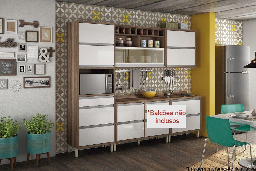 Cozinha Compacta Nesher Baronesa de Madeira 3 Peças (Paneleiro +2 Armários)