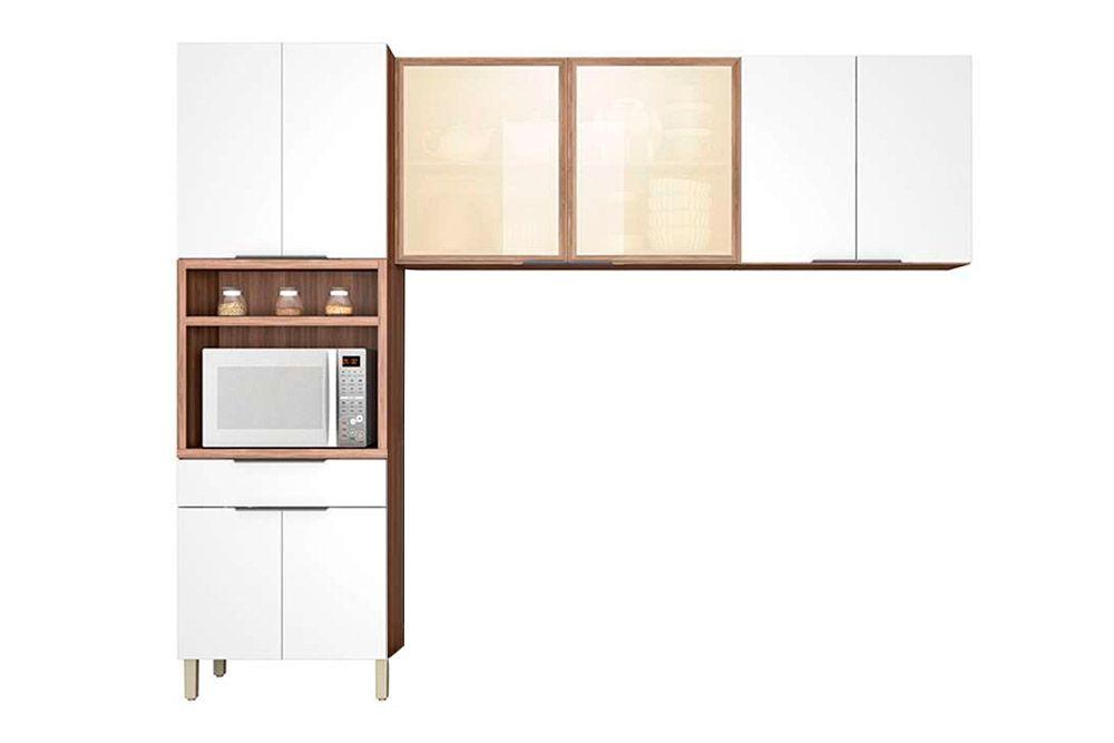 Cozinha Compacta Nesher Donna de Madeira 3 Peças (Paneleiro + 2 Armários)