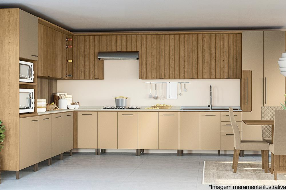 Cozinha Completa Kappesberg Áurea 22 Peças (2 Paneleiros + 7 Balcões + 6 Aéreos + 7 Tampos) CZ144