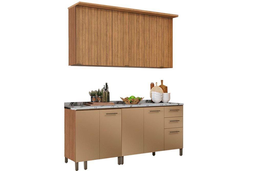 Cozinha Completa Kappesberg Áurea 6 Peças (2 Balcões + 2 Aéreos + 2 Tampos) CZ149