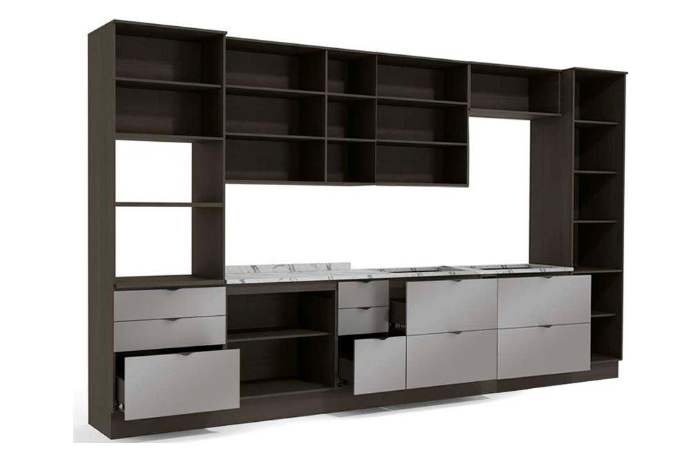 Cozinha Completa Kappesberg Nox 12 Peças (2 Paneleiros + 4 Aéreos + 3 Balcões + 3 Tampos) CZ155