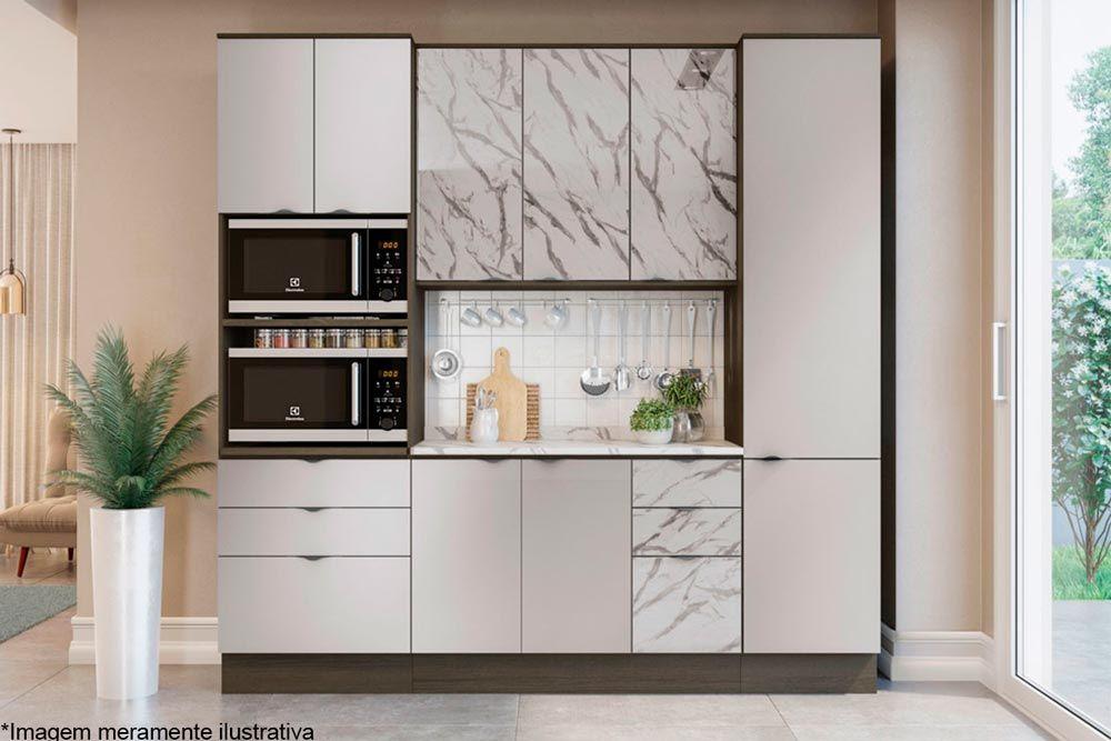 Cozinha Completa Kappesberg Nox 5 Peças (2 Paneleiros +1 Aéreo + 1 Balcão + 1 Tampo) CZ153