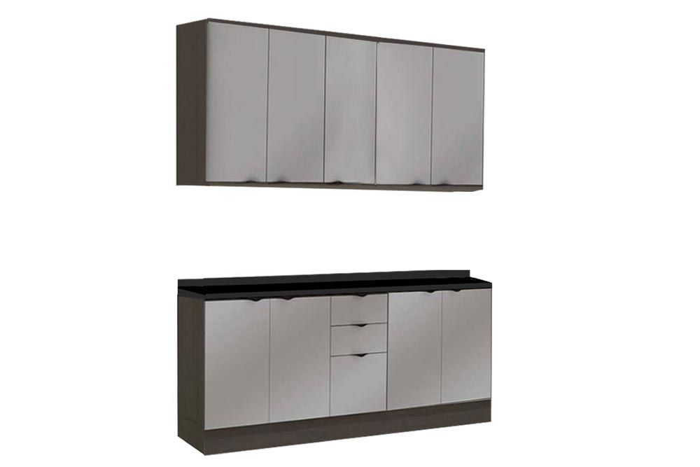 Cozinha Completa Kappesberg Nox 6 Peças (2 Aéreos + 2 Balcões + 2 Tampos) CZ152