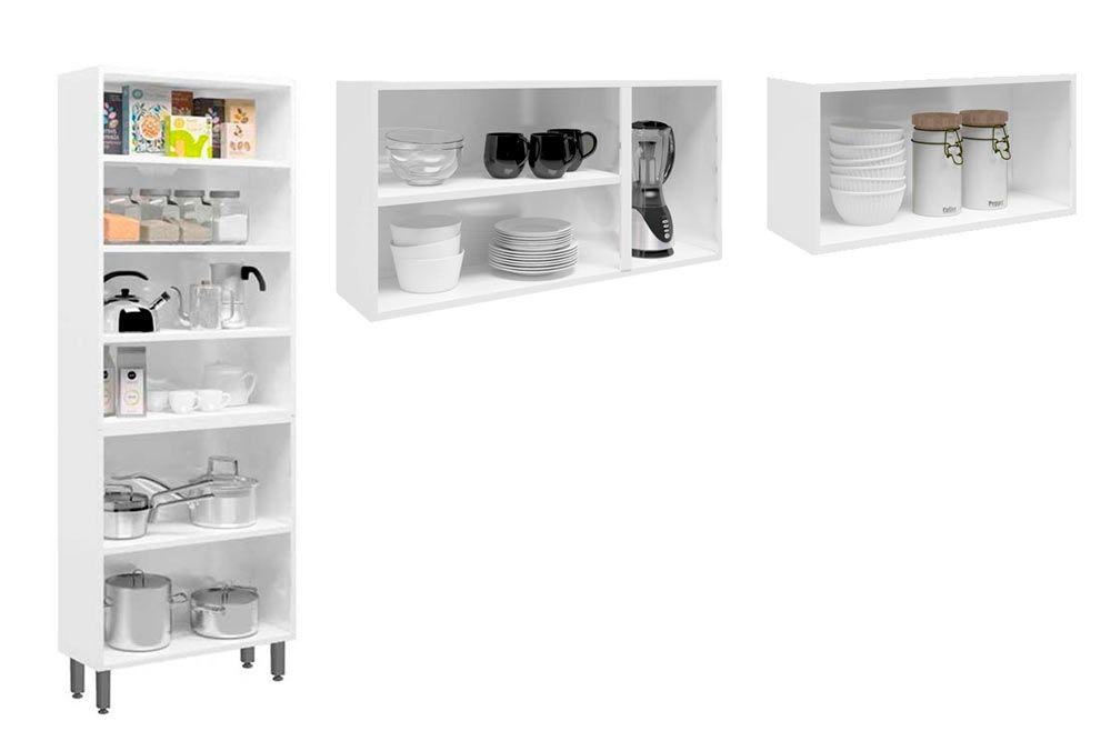 Cozinha Completa Bertolini Colors 3 Peças (1 Paneleiro + 2 Aéreos) Kit CZ186