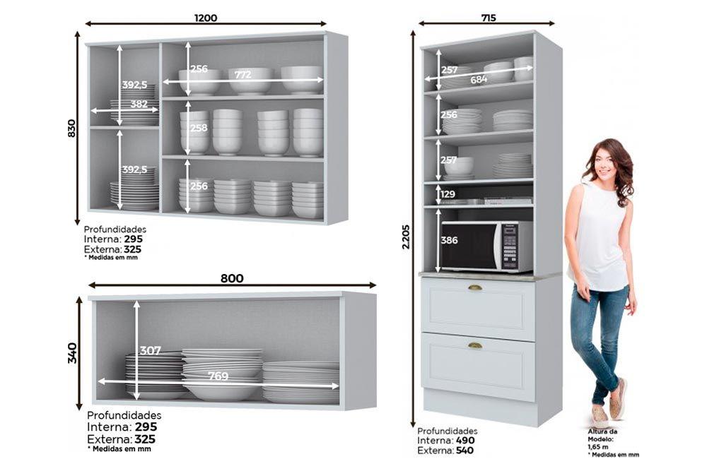 Cozinha Completa Henn Americana 3 Peças (Paneleiro+1 Aéreo 3 Portas c/ Vidro+1 Aéreo basculante) CZ184