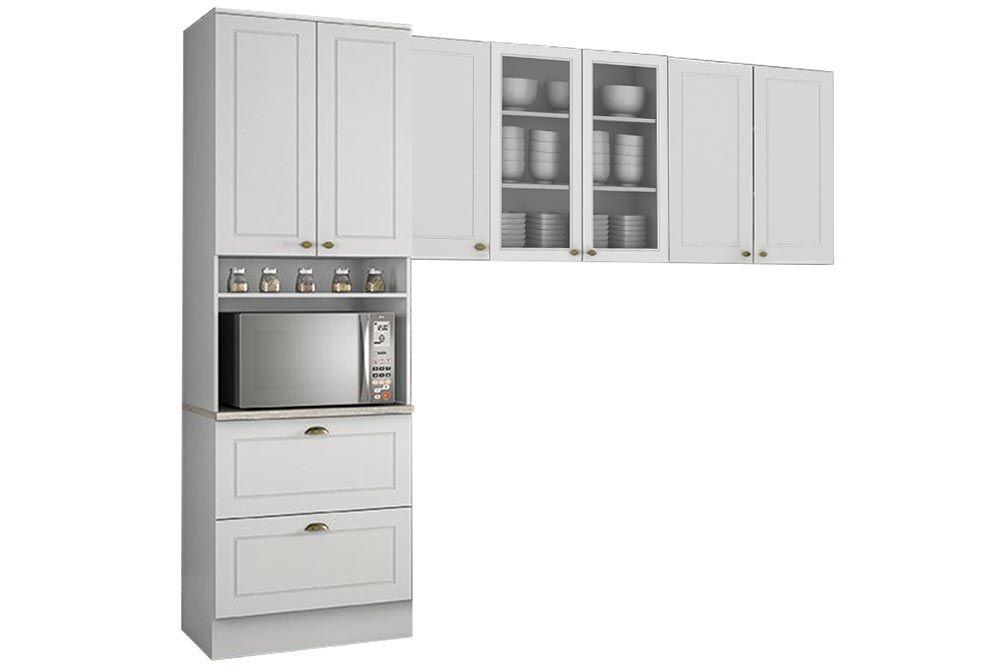 Cozinha Completa Henn Americana 3 Peças (Paneleiro+Aéreo 3 Portas c/ Vidro+Aéreo 2 Portas) CZ186