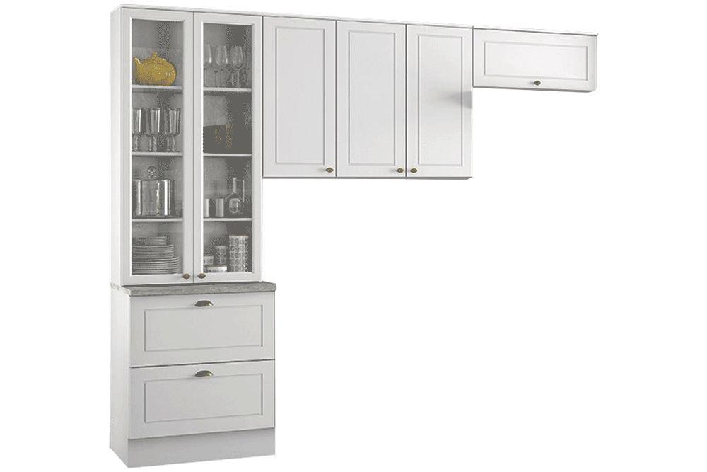 Cozinha Completa Henn Americana 3 Peças (Cristaleira+Aéreo 3 Portas+Aéreo Basculante) CZ187