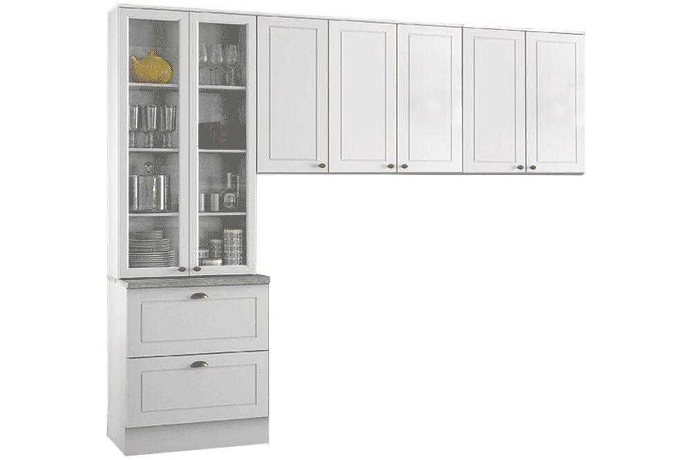 Cozinha Completa Henn Americana 3 Peças (Cristaleira+Aéreo 3 Portas+Aéreo 2 Portas) CZ189