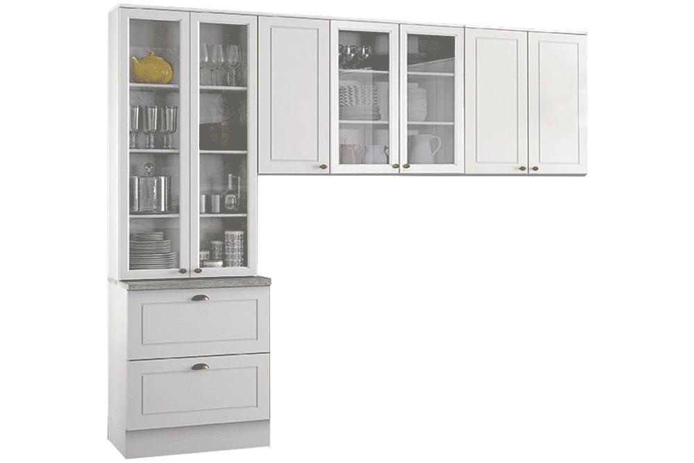 Cozinha Completa Henn Americana 3 Peças (Cristaleira+Aéreo 3 Portas c/ vidro+Aéreo 2 Portas) CZ190