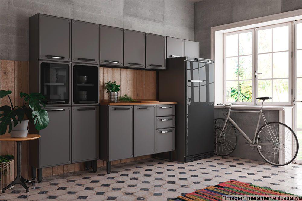 Cozinha Completa Bertolini Estilo 4 Peças (1 Paneleiro + 2 Aéreos + 1 Gabinete) Kit CZ191