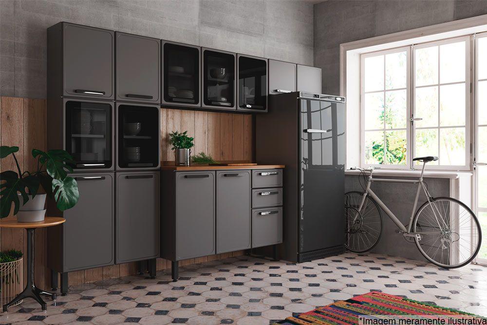 Cozinha Completa Bertolini Estilo c/ Pia 4 Peças (1 Paneleiro + 2 Aéreos + 1 Gabinete) Kit CZ192