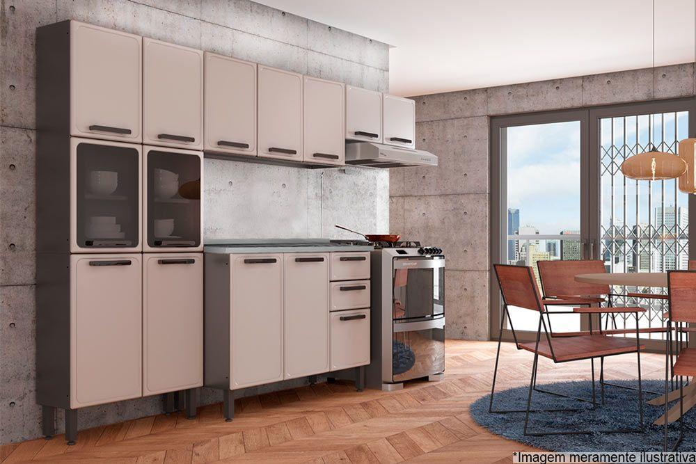 Cozinha Completa Bertolini Estilo c/ Pia 4 Peças (1 Paneleiro + 2 Aéreos + 1 Gabinete) Kit CZ193