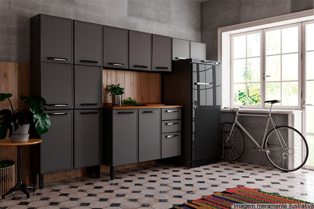 Cozinha Completa Bertolini Estilo 4 Peças (1 Paneleiro + 2 Aéreos + 1 Gabinete) Kit CZ194