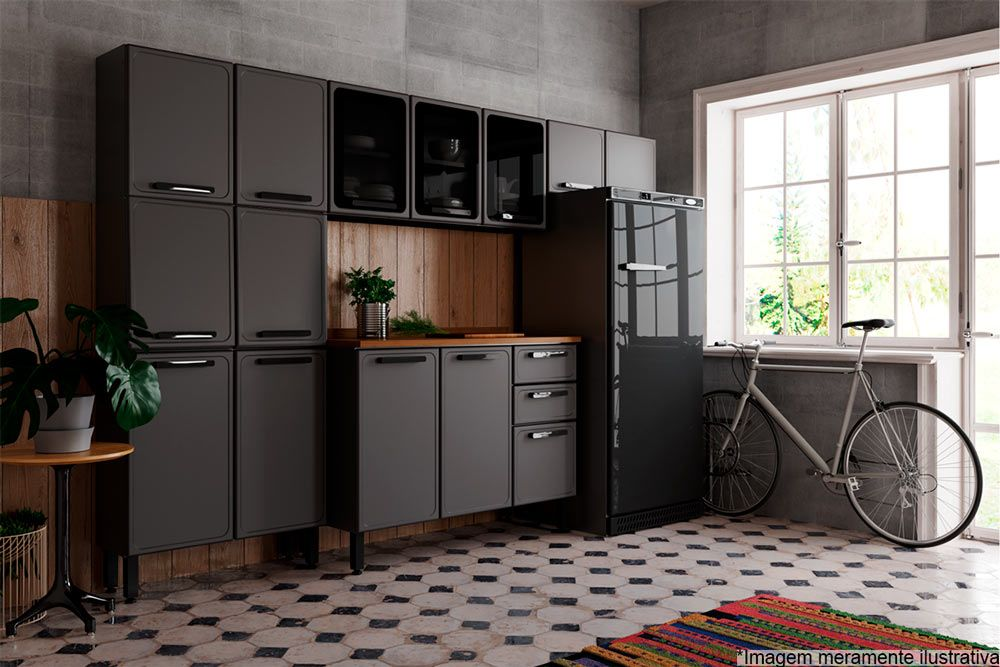Cozinha Completa Bertolini Estilo c/ Pia 4 Peças (1 Paneleiro + 2 Aéreos + 1 Gabinete) Kit CZ195