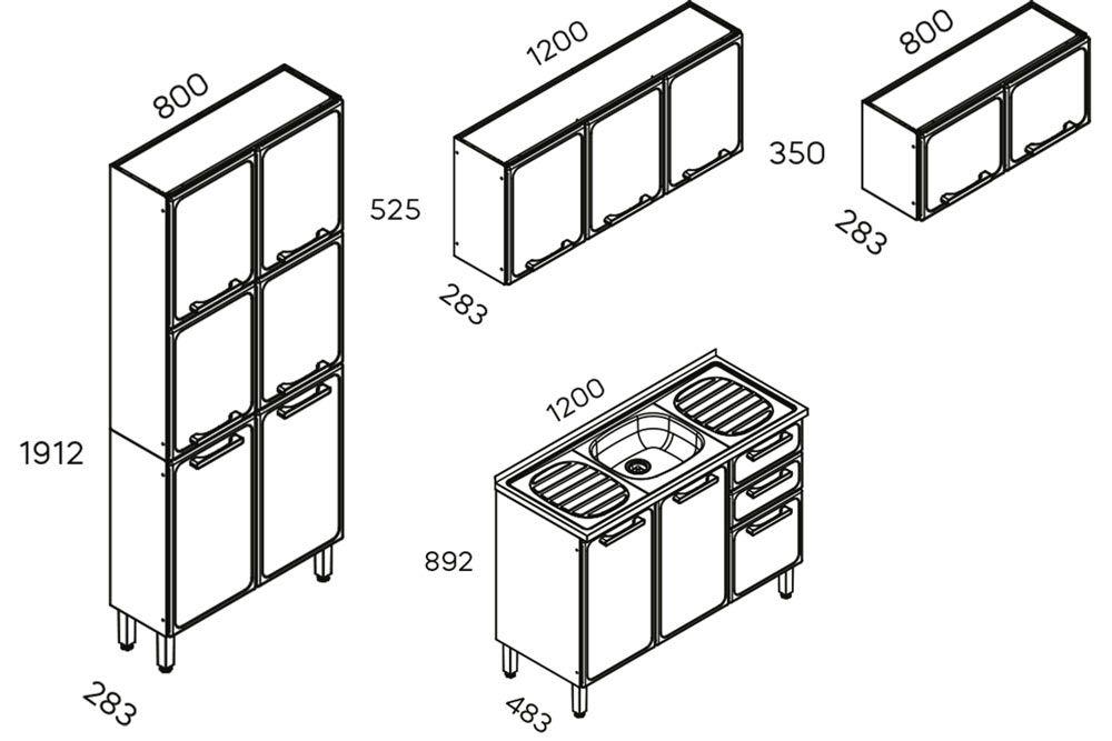 Cozinha Completa Bertolini Estilo c/ Pia 4 Peças (1 Paneleiro + 2 Aéreos + 1 Gabinete) Kit CZ196