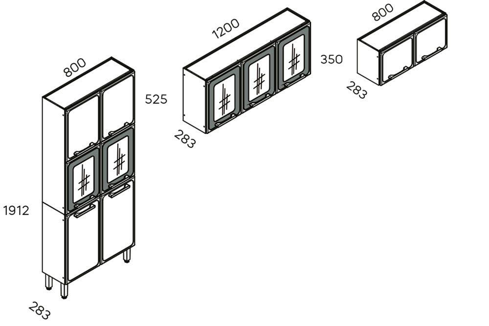 Cozinha Completa Bertolini Estilo 3 Peças (1 Paneleiro + 2 Aéreos) Kit CZ196