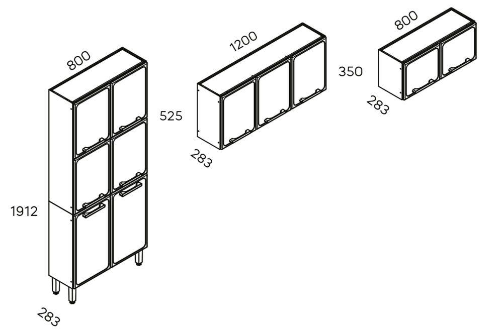 Cozinha Completa Bertolini Estilo 3 Peças (1 Paneleiro + 2 Aéreos) Kit CZ199