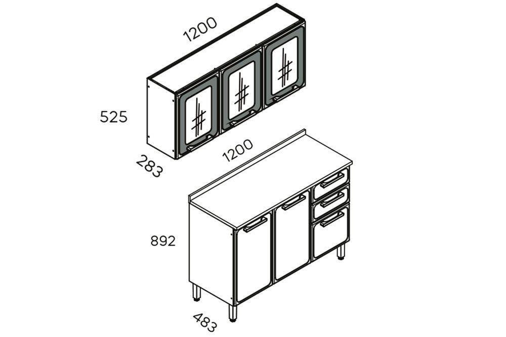 Cozinha Completa Bertolini Estilo 2 Peças (1 Aéreos + 1 Gabinete) Kit CZ180