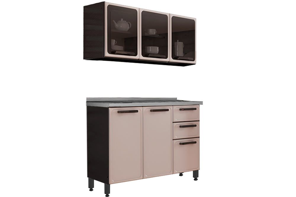 Cozinha Completa Bertolini Estilo c/ Pia 2 Peças (1 Aéreos + 1 Gabinete) Kit CZ178