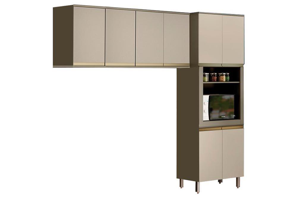 Cozinha Completa Henn Connect  3 Peças (Paneleiro+Aéreo 3 Portas+2 Aéreos de 1 Porta) CZ193