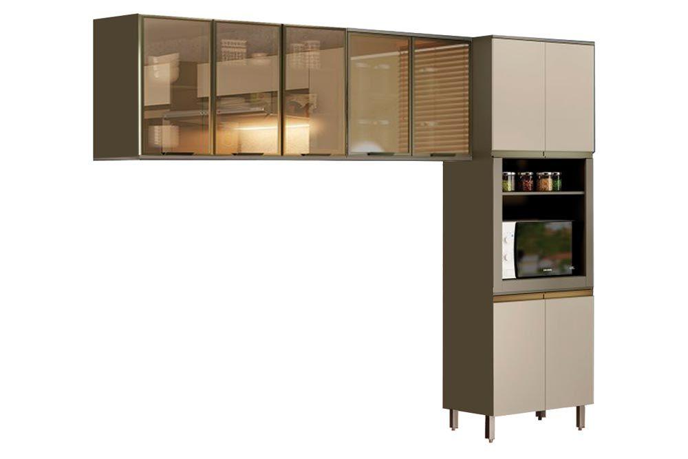 Cozinha Completa Henn Connect  3 Peças (Paneleiro+2 Aéreos c/ Vidro) CZ194