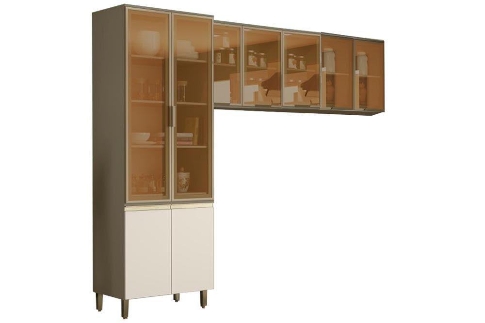 Cozinha Completa Henn Connect 3 Peças (Cristaleira+2 Aéreos c/ Portas de Vidro) CZ195