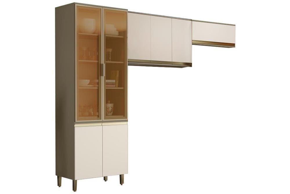 Cozinha Completa Henn Connect 3 Peças (Cristaleira+1 Aéreos c/ 3 Portas+Aéreo Basculante) CZ196