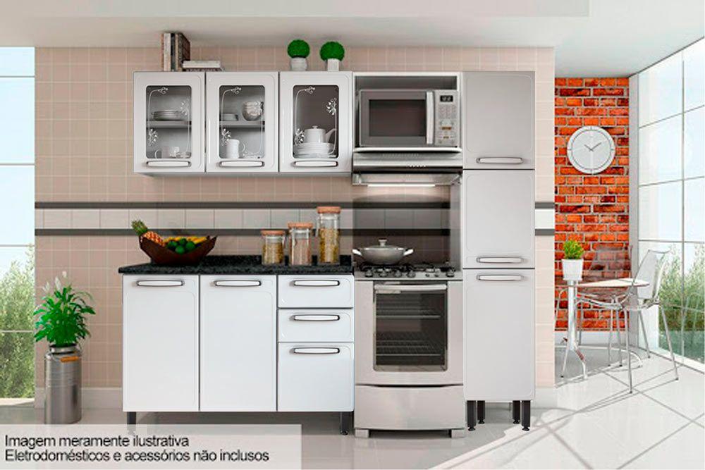 Cozinha Completa Bertolini Evidence Aço 4 Peças (Paneleiro + 2 Aéreos + Gabinete) CZ120