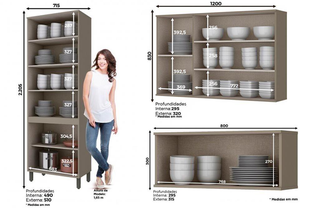 Cozinha Completa Henn Connect 3 Peças (Cristaleira+1 Aéreos c/ 3 Portas de Vidro+Aéreo Basculante) CZ197