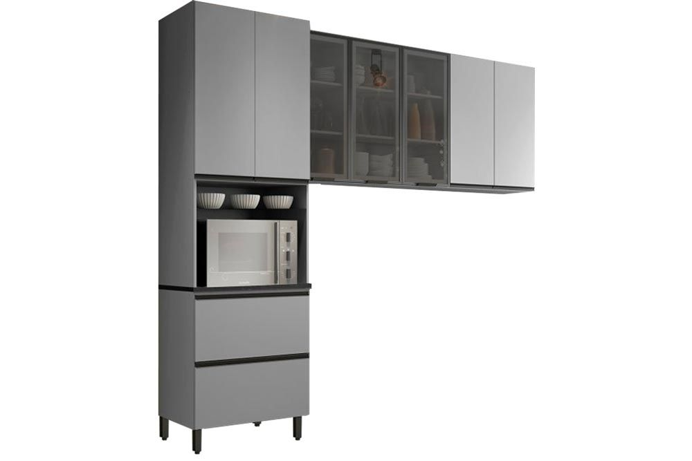 Cozinha Completa Henn Belize 3 Peças (Paneleiro+Aéreo 3 Portas c/Vidro+Aéreo Basculante) CZ198