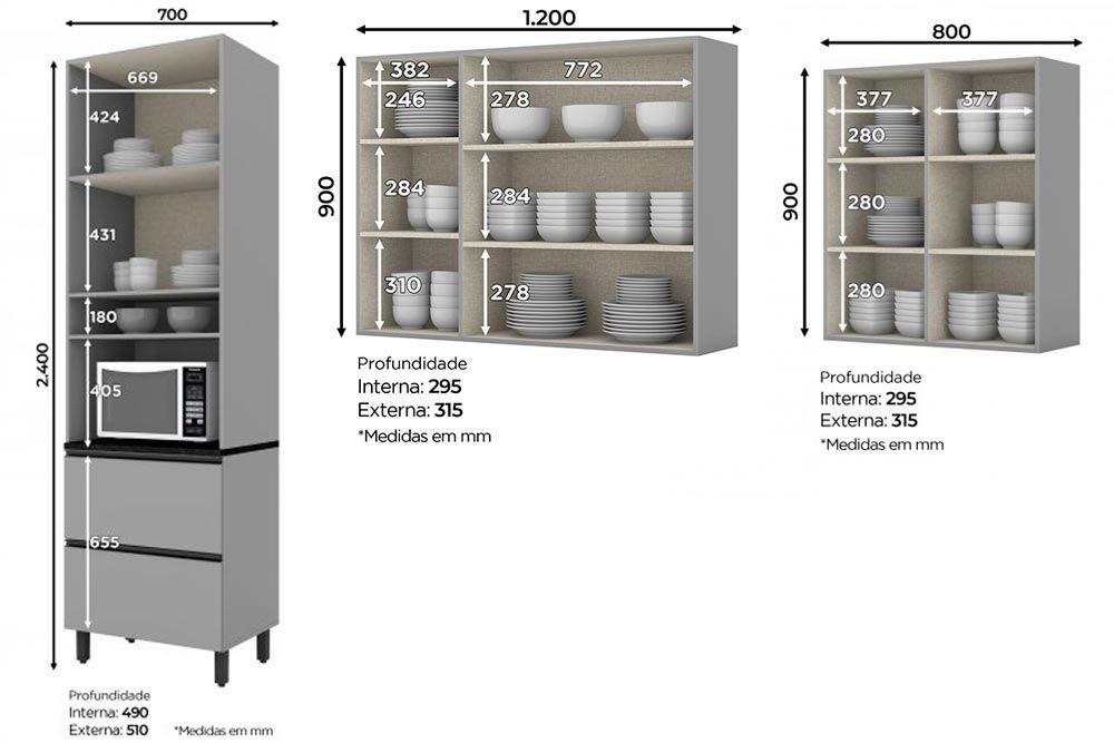Cozinha Completa Henn Belize 3 Peças (Paneleiro+Aéreo 3 Portas+Aéreo 2 Portas) CZ199