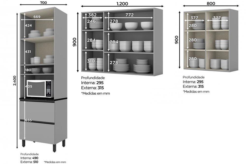Cozinha Completa Henn Belize 3 Peças (Paneleiro+Aéreo 3 Portas c/ Vidro+Aéreo 2 Portas) CZ200