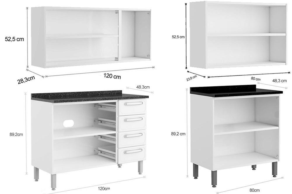 Cozinha Completa Bertolini Evidence Aço 4 Peças (2 Aéreoss + 2 Gabinete) CZ125