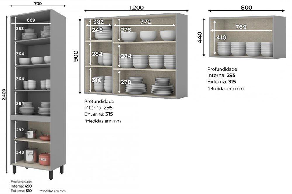 Cozinha Completa Henn Belize 3 Peças (Cristaleira+Aéreo 3 Portas+Aéreo Basculante) CZ202