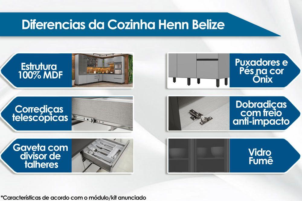 Cozinha Completa Henn Belize 3 Peças (Cristaleira+Aéreo 3 Portas+Aéreo 2 Portas) CZ203