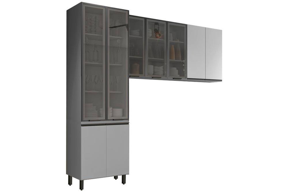Cozinha Completa Henn Belize 3 Peças (Cristaleira+Aéreo 3 Portas c/ Vidro+Aéreo 2 Portas) CZ204