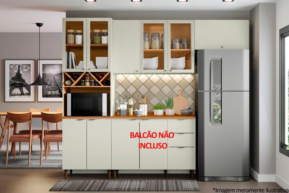 Cozinha Completa Henn Essência 3 Peças (Paneleiro+Aéreo 3 Portas c/ Vidro+Aéreo Basculante) CZ206