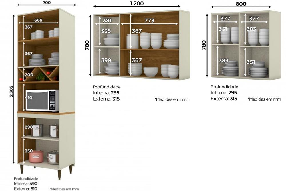 Cozinha Completa Henn Essência 3 Peças (Paneleiro+Aéreo 3 Portas c/ Vidro+Aéreo 2 Portas) CZ208