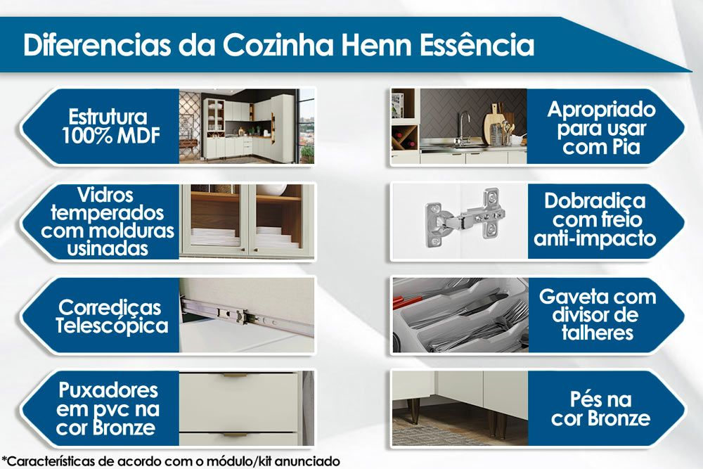 Cozinha Completa Henn Essência 3 Peças (Cristaleira+Aéreo 3 Portas c/ Vidro+Aéreo 2 Portas) CZ209
