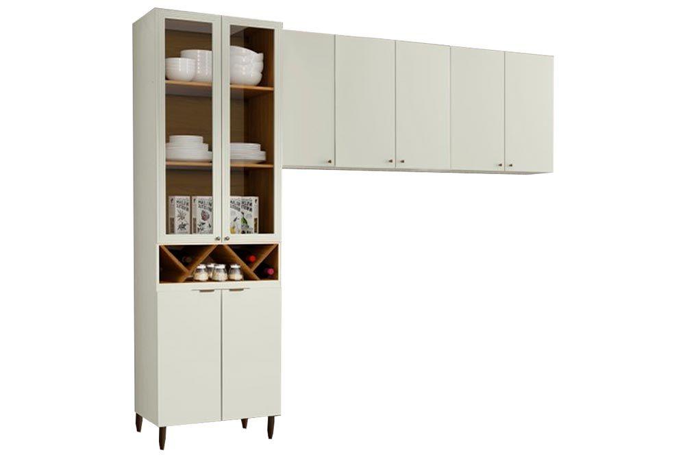 Cozinha Completa Henn Essência 3 Peças (Cristaleira+Aéreo 3 Portas+Aéreo 2 Portas) CZ210