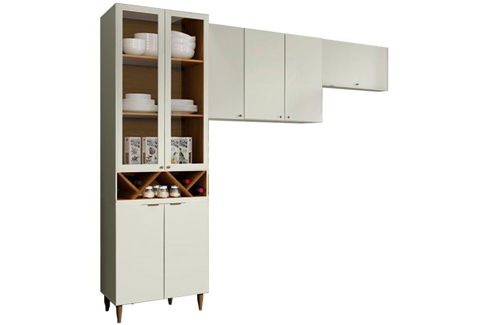 Cozinha Completa Henn Essência 3 Peças (Cristaleira+Aéreo 3 Portas+Aéreo Basculante) CZ211