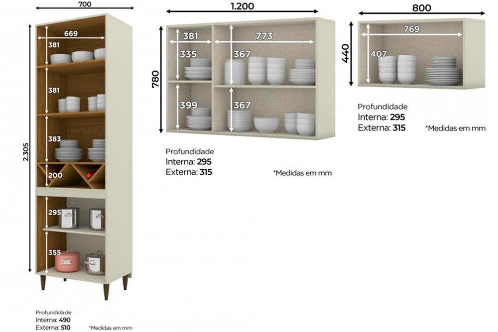 Cozinha Completa Henn Essência 3 Peças (Cristaleira+Aéreo 3 Portas c/ Vidro+Aéreo Basculante) CZ212