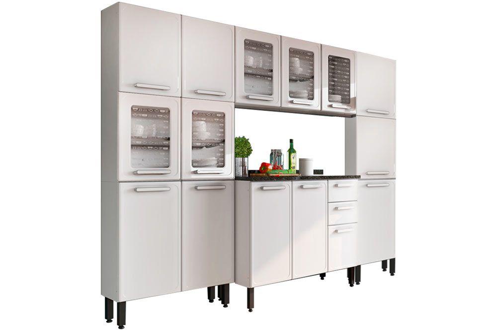 Cozinha Completa Bertolini Gourmet Aço 4 Peças (2 Paneleiros + Aéreo + Gabinete) CZ123