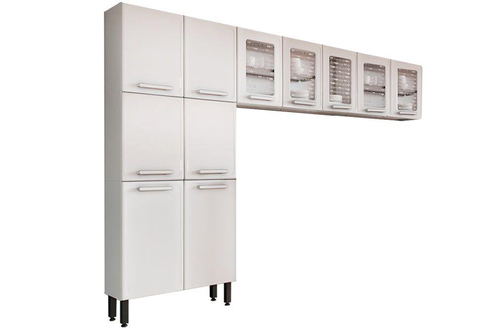 Cozinha Completa Bertolini Gourmet Aço 3 Peças (Paneleiro + 2 Aéreos) CZ133