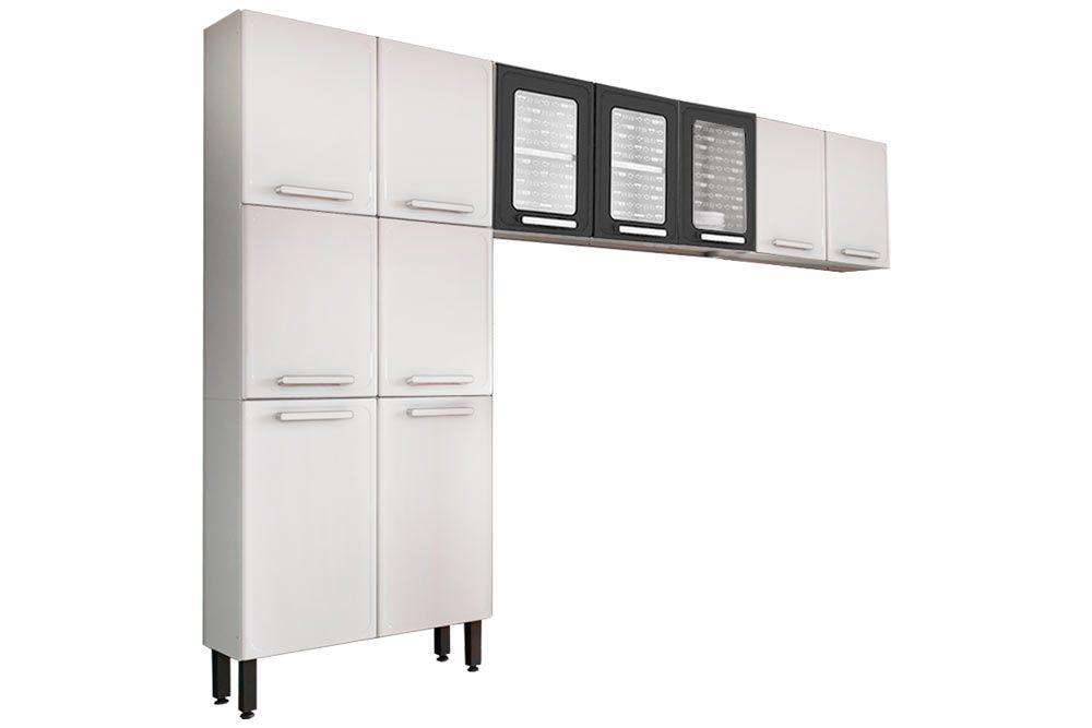 Cozinha Completa Bertolini Gourmet Aço 3 Peças (Paneleiro + 2 Aéreos) CZ132