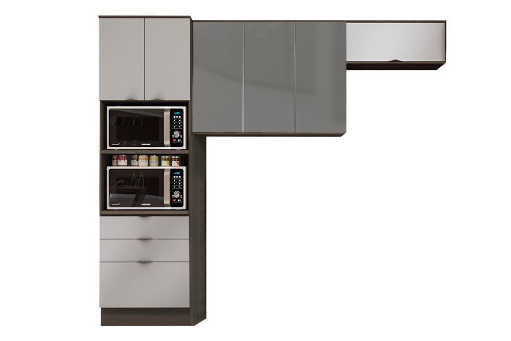 Cozinha Completa Kappesberg Nox 3 Peças (Paneleiro + 2 Aéreos) CZ196