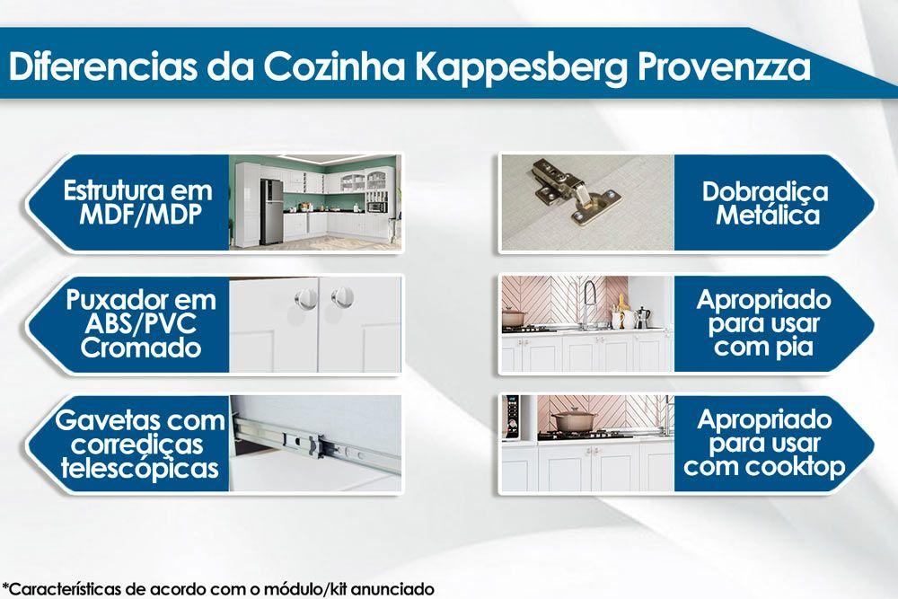 Cozinha Completa Kappesberg Provenzza 3 Peças (Cristaleira + 2 Aéreos) CZ203