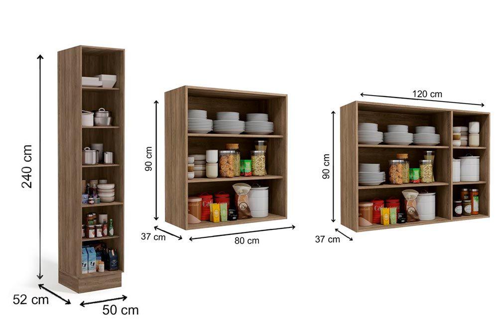 Cozinha Completa Kappesberg Maxxi 3 Peças (Paneleiro + 2 Aéreos) CZ209