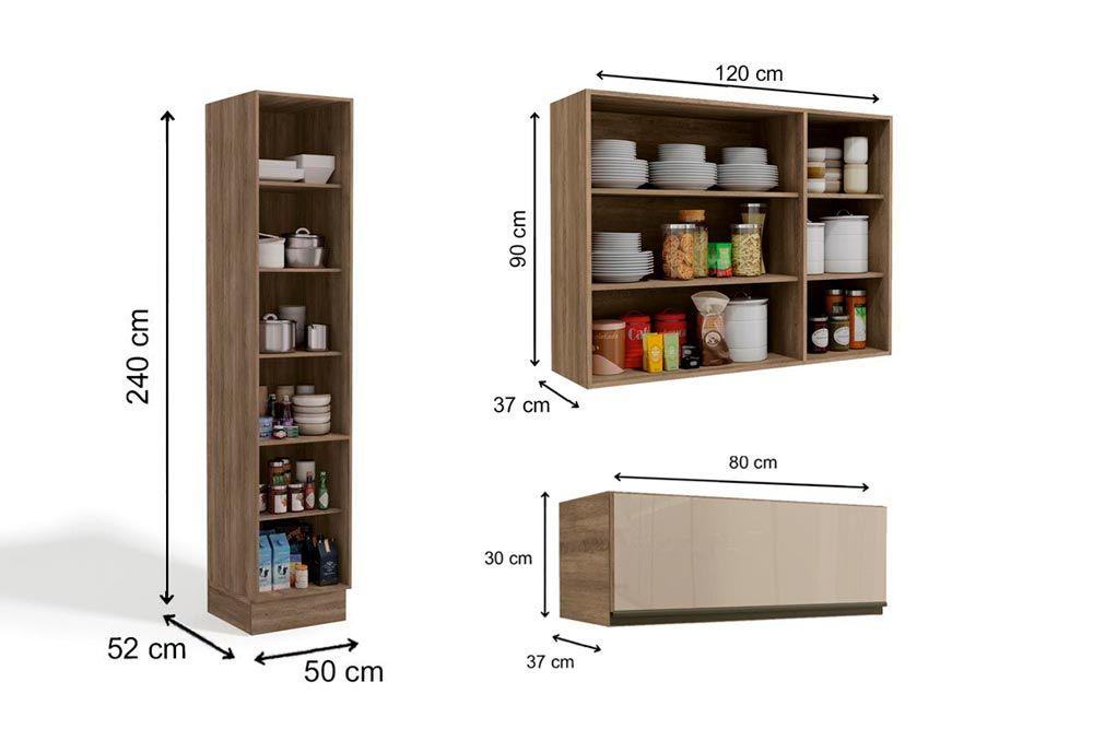 Cozinha Completa Kappesberg Maxx 3 Peças (Paneleiro +2 Aéreos) CZ210