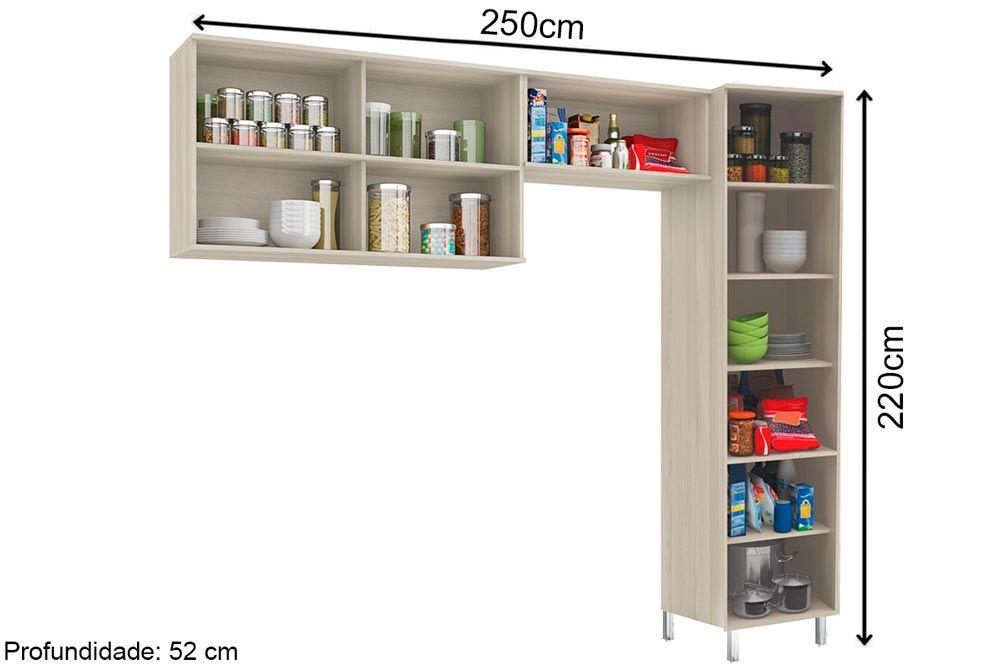 Cozinha Completa Kappesberg Versatti 3 Peças (Paneleiro + 2 Aéreos) CZ218